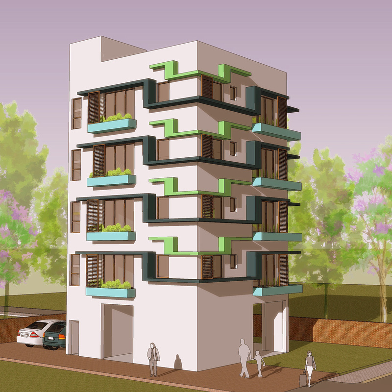 Indian residential building designs for Design of building house