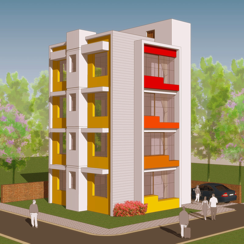 Apartment building design building design apartment for Design of building house