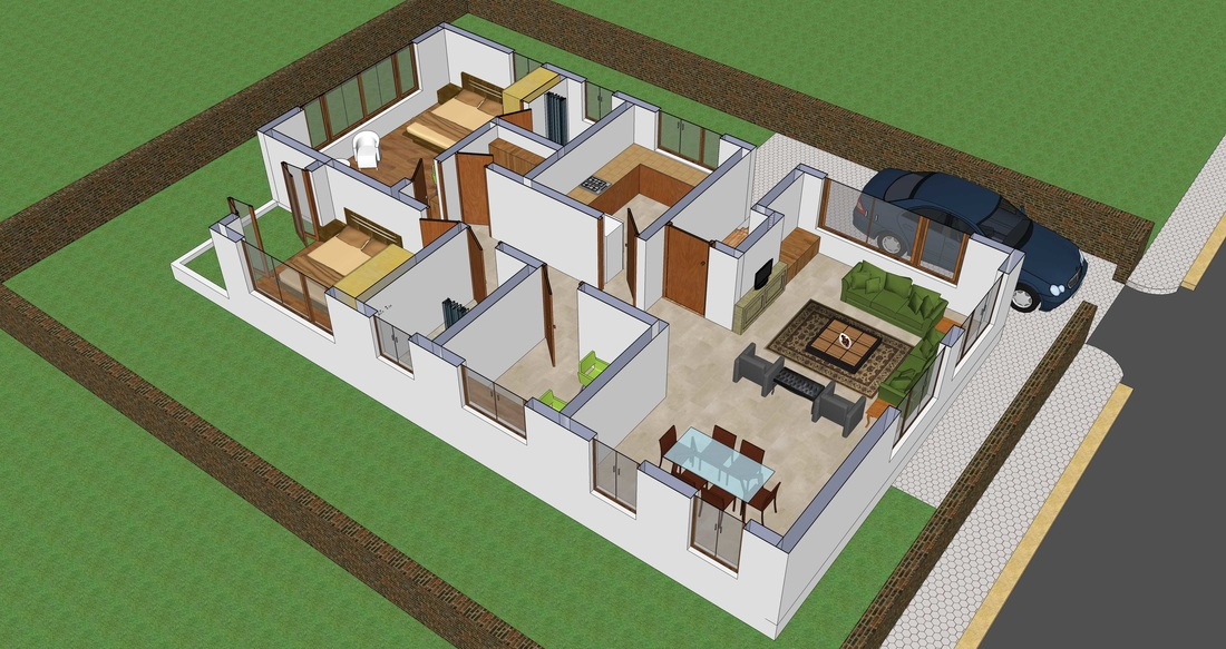 Incroyable 3D Interior View Of Small House Plan   SHP 1009