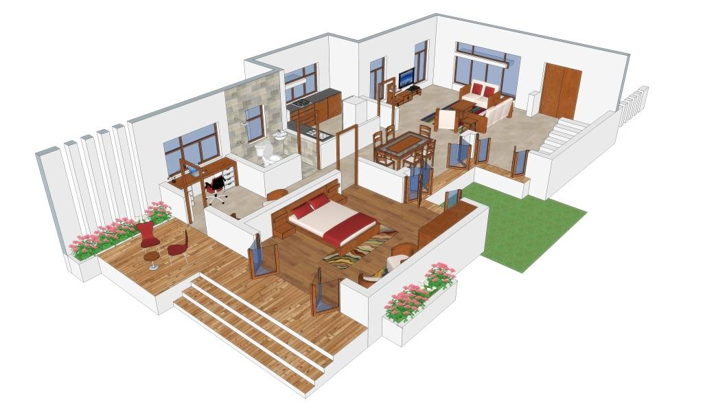 3d interior view of sample design house plan - Home Planing